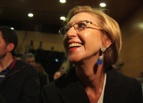 The UPyD's leader, Rosa Díez, a few weeks ago in Catalonia (by ACN)