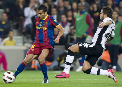 Dani Alves during last game against Valencia (by FC Barcelona)