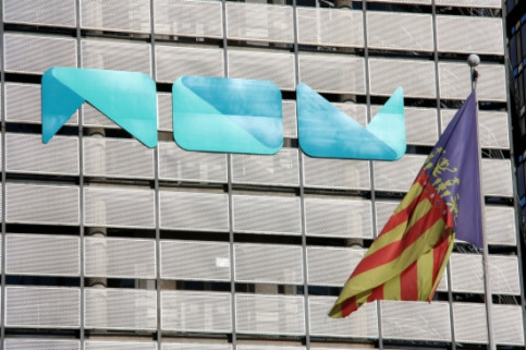 The building and logo of Valencian Public TV Broadcaster, which has been shut down this November and had its contents in Catalan and  (by ACN)
