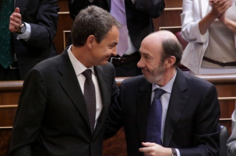 Prime Minister Zapatero and Socialist candidate Alfredo Pérez Rubalcaba (by ACN)