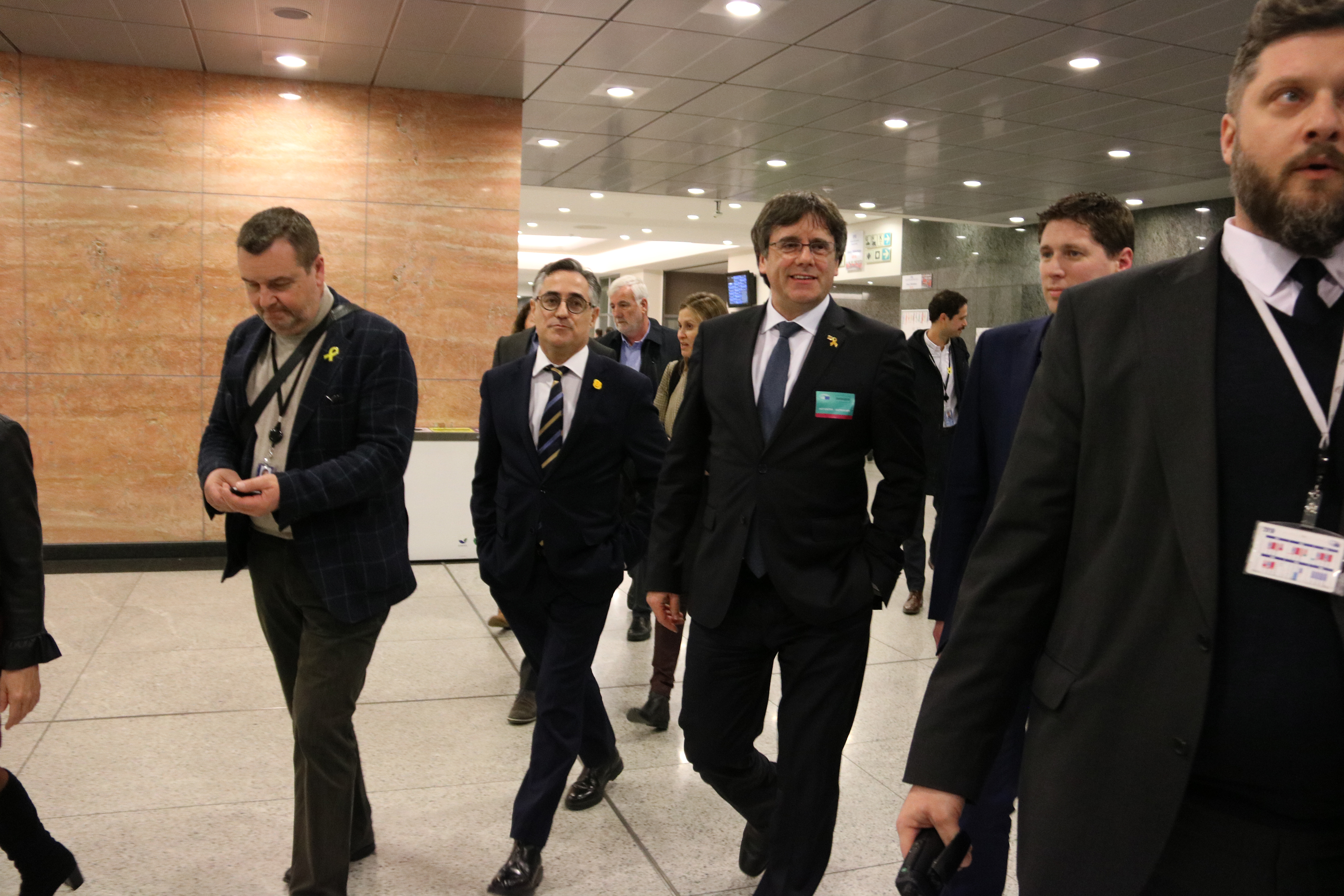 Former Catalan president Carles Puigdemont visits the European Parliament on March 4, 2019 (by Natàlia Segura)